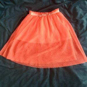 Toddler - Coral Swiss Dot Tulle Maxi Skirt (Sz 2T)